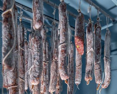 Salami in warehouse