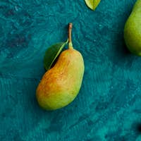 Festive autumn decor from pears,  leaves, acorns