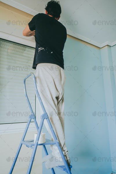 Man working in a room renovation