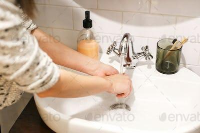 Cleaning hands to prevent coronavirus epidemic