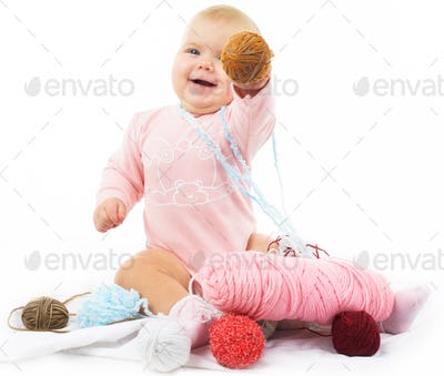girl with colored thread