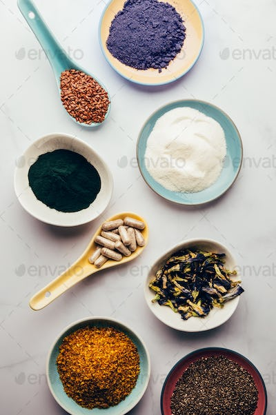 Variety of healthy food supplements