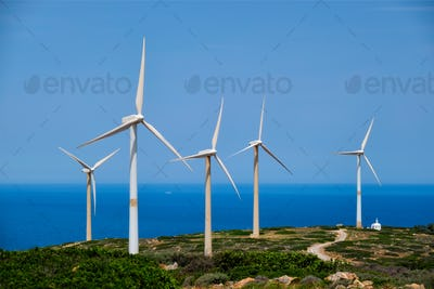 Wind generator turbines. Crete island, Greece