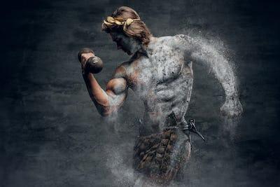 Ancient Greek male sportsmen holds dumbbell.