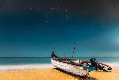 Goa, India. Real Night Sky Stars. Natural Starry Sky Blue Color Above Sea Seascape Ocean Beach