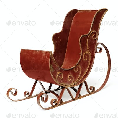 Old empty red sleigh