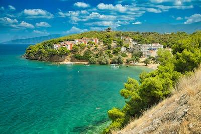 Holiday villas with Mediterranean sea view, Greece coastline