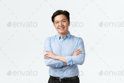Business, finance and people concept. Professional confident asian businessman with teeth braces