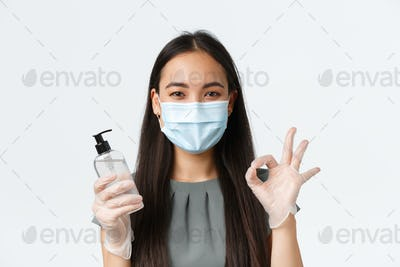 Small business owners, covid-19, preventing virus measures concept. Close-up of asian woman in
