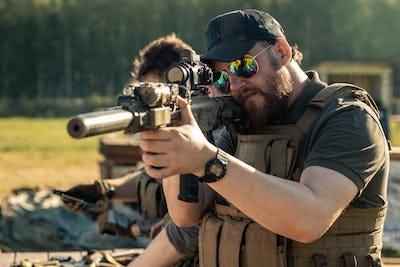 Shooting at target outdoors