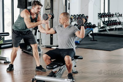 Exercising with fitness coach