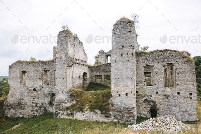ruin brick walls of medieval castle, historical defence fortress in Europe