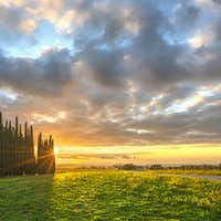 Sunset landscape in Maremma. Rural road and cypress trees. Casale Marittimo,Tuscany, Italy