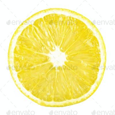 slice ripe lemon citrus fruit on a white background