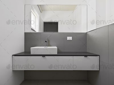 Close-up of Washbasin Cabinet  with Countertop Sink and Large Mirror Above It