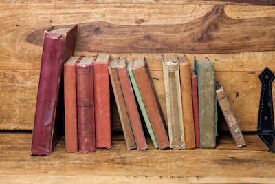 old books on the wooden bookshelfs, vintage