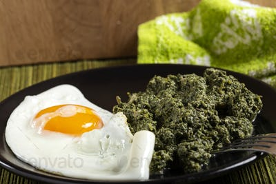 Nettle stew with a fried egg