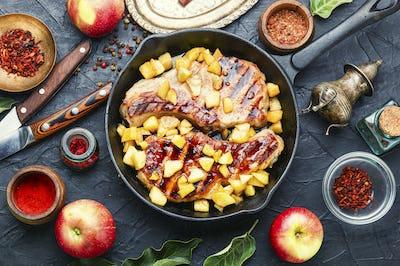 Meat steak with apple sauce