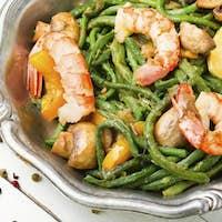 Prawn with asparagus beans