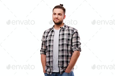 Bearded casual male isolated on white background.
