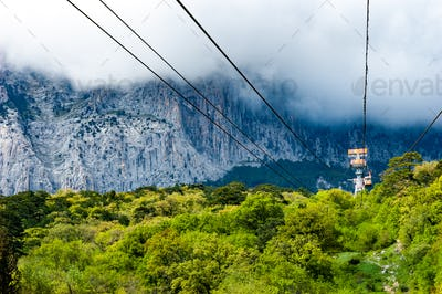 Funicular paths pass by picturesque thickets background mountains