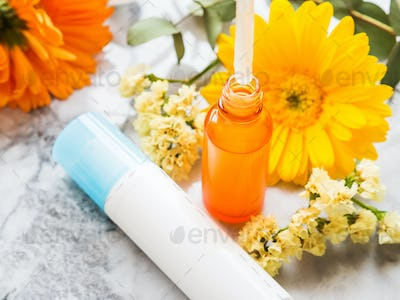 Skin care generic products on marble table