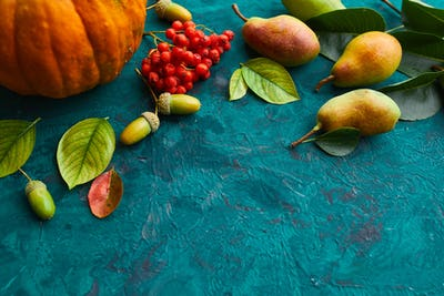 Festive autumn decor from pumpkins, pears, leaves, acorns