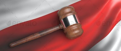 Belarus law. Judge auction gavel on belarusian protest flag waving background. 3d illustration