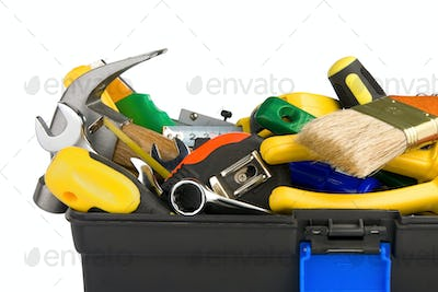 tools in black toolbox isolated on white