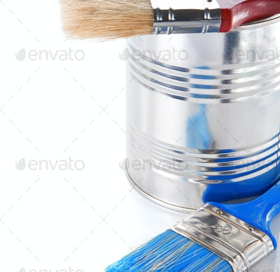 paint brush and bucket isolated on white