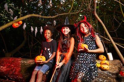 Friends celebrating Halloween