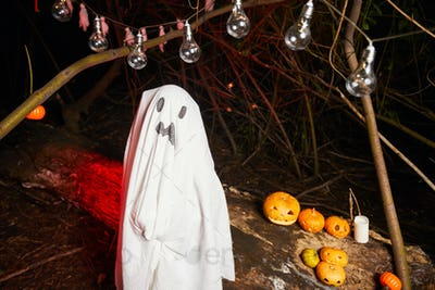 Child in ghost costume at party