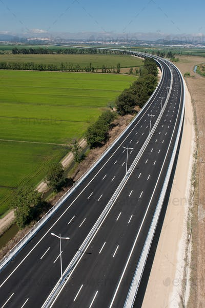 Aerial view of motorway