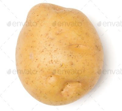 potato isolated over white background. Top view, flat lay..