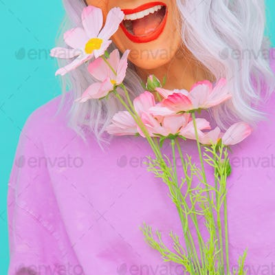 Fresh summer look. Happy Girl pastel colours style. Girl 90s aesthetic. Flowers bloom positive vibes