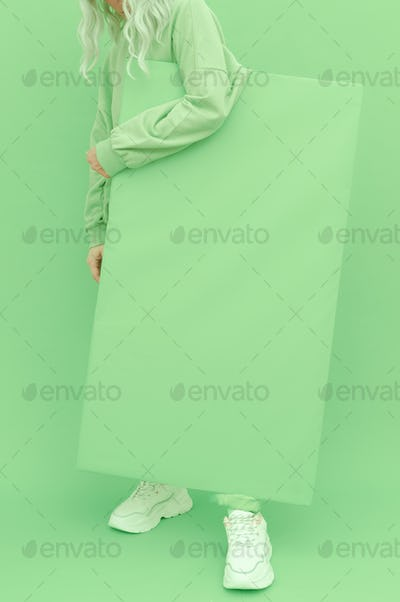 Fresh Mint fashion style. Monochrome color trends. Aqua Menthe aesthetic