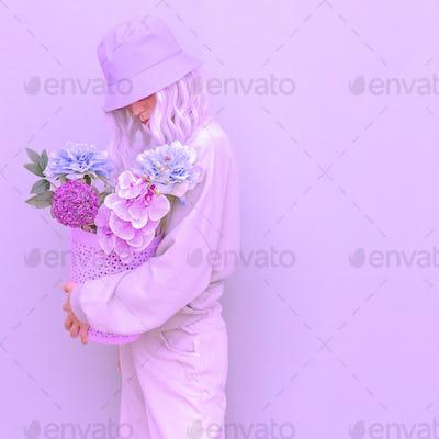 Blooming Summer look. Vanilla flowers casual Girl. Purple design trends. Street style Lady
