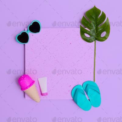 Vacation beach set. Ice cream, flip-flops, sunglasses. Minimal flat lay art