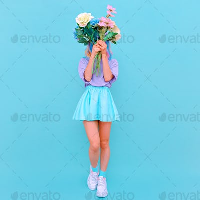 Summer fashion Girl with bouquet. Blooming romantic flowers vibes. Vanilla monochrome design trends