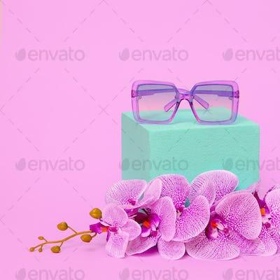Sunglasses in Floral composition. Fashion Accessories Concept