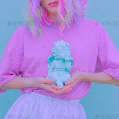 Fashion Pastel Vanilla summer Girl. Purity romantic angel vibes.
