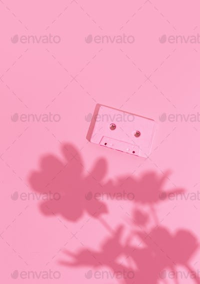 Minimal aesthetic still life monochrome design. Pink trends. Flowers shadow and audio cassette