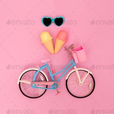 City bike toy and summer vibes. Minimal flat lay art