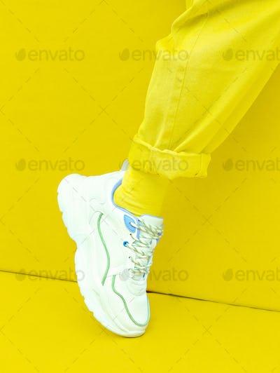 Fashion Sneakers. Minimal monochrome design.  Yellow aesthetic