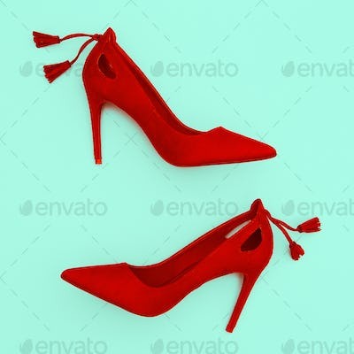 Red velvet shoes. Fashion minimal concept