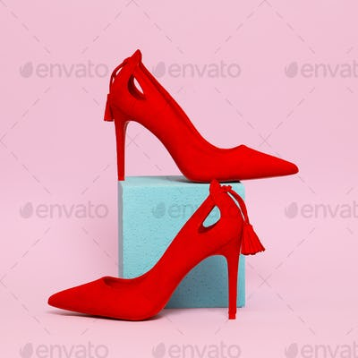 Red Lady shoes. Minimal stylish concept
