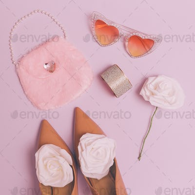 Fashion accessories Lady sunglasses, shoes, clutch. Retro wedding style