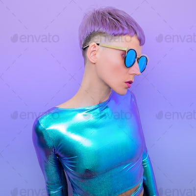 Model with short colored hair. Trendy haircut concept