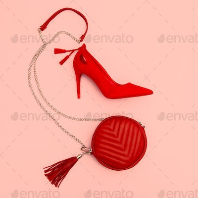 Red Lady shoes and clutch bag. Fashion minimal concept