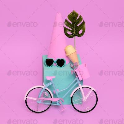 Summer pastel composition. Ice cream bike beach vibes